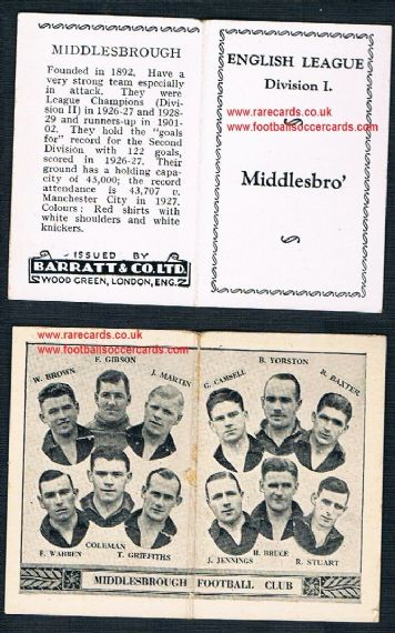 1934 Barratt English League Div 1 folder Middlesbrough